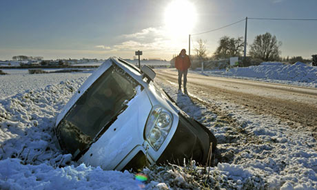 'What a cidiot!' Country folk know how to handle snow, unlike this urban driver. Photograph: Philippe Huguen