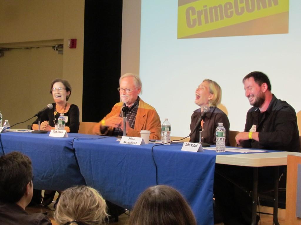 From L to R: Roberta Isleib (aka Lucy Burdette), Tom Staw, Nina Mansfield and moderator John Valeri. Photo: Chelsey Valeri.